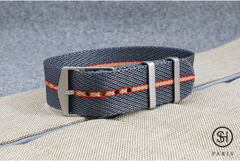 Grey Red Sand adjustable Serge SELECT-HEURE nylon watch strap
