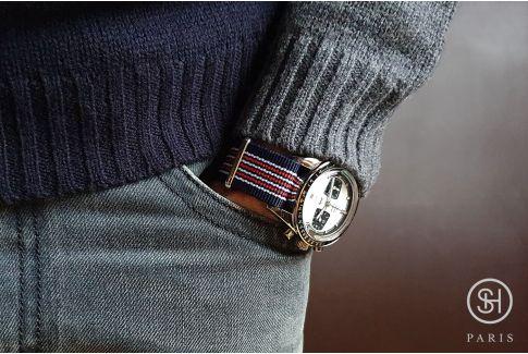 Bracelet montre NATO nylon SELECT-HEURE - London -, boucle indémontable en acier inox