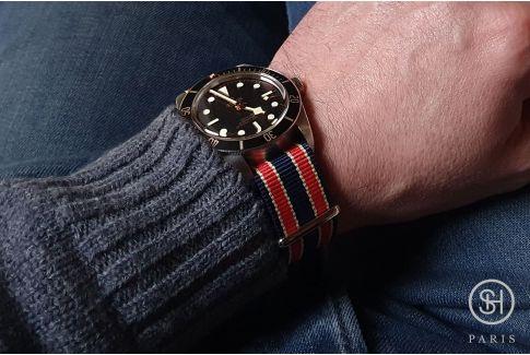Bracelet montre NATO nylon SELECT-HEURE - Oxford-, boucle indémontable en acier inox