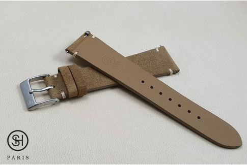 Bronze minimal stitching Suede SELECT-HEURE leather watch strap with quick release spring bars (interchangeable)