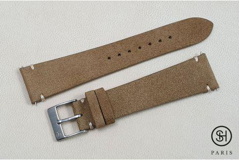 Bracelet montre cuir Suede SELECT-HEURE Bronze coutures minimales avec pompes rapides (interchangeable)