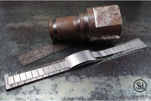 """Bracelet montre Vintage """"Maillons Plats"""" dit """"Flat Links"""" en acier inox massif brossé/brillant, boucle déployante avec sécurité"""