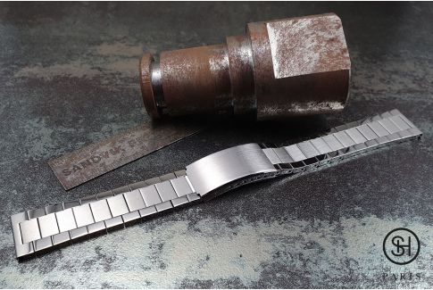 Vintage Flat Links solid brushed/shiny stainless steel watch band (19, 20, 21 or 22 mm), security clasp