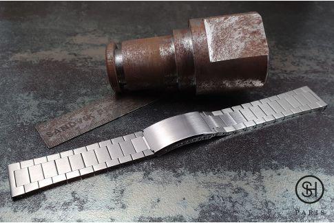 """Bracelet montre Vintage """"Maillons Plats"""" dit """"Flat Links"""" en acier inox massif brossé, boucle déployante avec sécurité"""