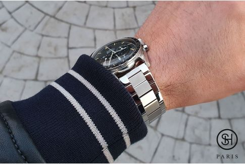 Vintage Flat Link solid brushed/shiny stainless steel watch band (19, 20, 21 or 22 mm), security clasp