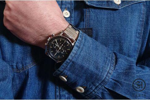 """Bracelet montre Vintage """"Maillon Plat"""" dit """"Flat Link"""" en acier inox massif brossé, boucle déployante avec sécurité"""