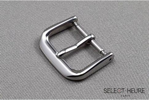 Classic SELECT-HEURE watch strap buckle, shiny polished stainless steel