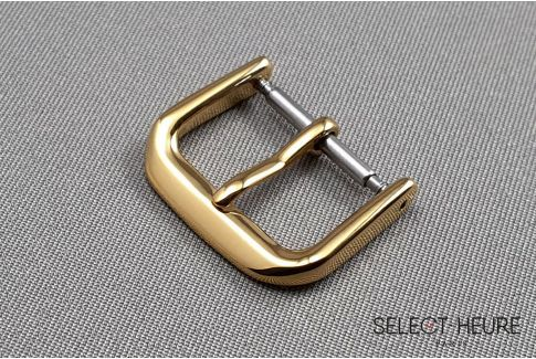 Classic SELECT-HEURE watch strap buckle, yellow gold polished stainless steel