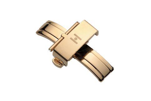 Boucle déployante à poussoirs (papillon) HIRSCH acier inox or pour bracelet montre
