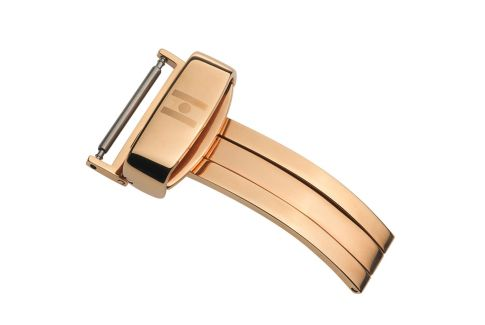 HIRSCH sport deployment buckle for watch, rose gold stainless steel