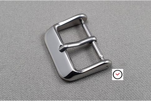 Vintage buckle for watch strap, shiny polished stainless steel