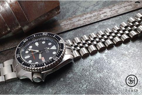 Bracelet montre Super Jubilee pour Seiko SKX en acier inox massif, boucle déployante massive avec sécurité