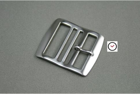 Polished stainless steel premium buckle for Perlon straps