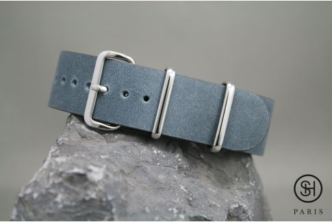 Blue Grey SELECT-HEURE leather NATO watch strap, polished stainless steel buckle