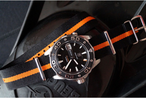 Bracelet nylon NATO Noir liseré Orange