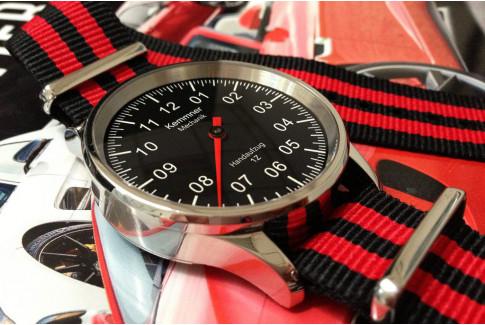 Bracelet nylon NATO Bond Noir Rouge