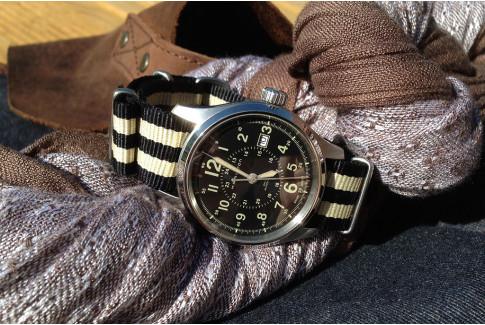 Black Sandy Beige James Bond G10 NATO strap (nylon)