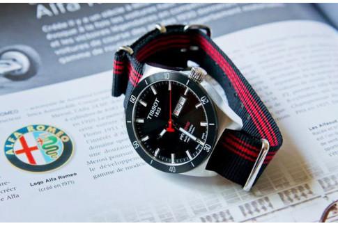 Bracelet nylon NATO Ducati Noir Rouge