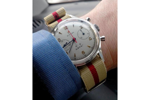 Sandy Beige Red G10 NATO strap (nylon)