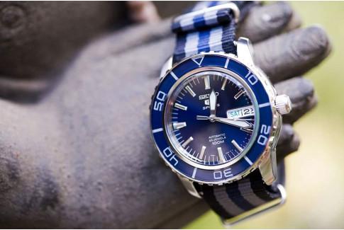 Bracelet nylon NATO Bond Noir Gris Bleu