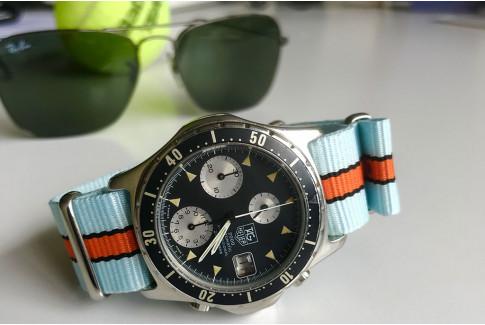 Bracelet nylon NATO Gulf / Le Mans (Bleu Ciel Orange Noir)