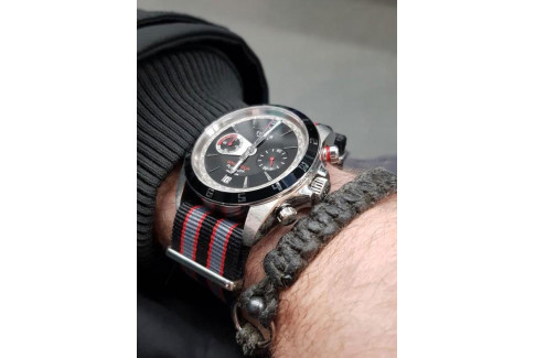 Bracelet nylon NATO Bond Noir Gris Rouge