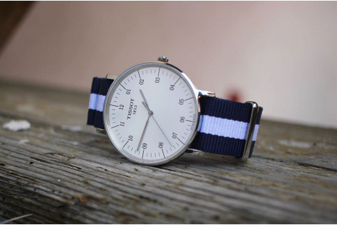 Navy Blue White G10 NATO strap (nylon)