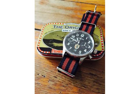 Bracelet nylon NATO Bond Noir Marron Cuivré