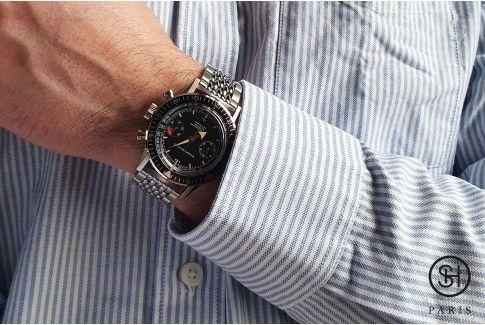 """Bracelet montre Vintage """"Perles de Riz"""" dit """"Beads of Rice"""" en acier inox massif, boucle déployante massive avec sécurité (18, 2"""
