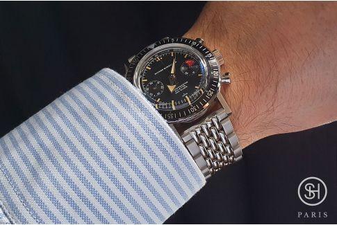 """Bracelet montre Vintage """"Perles de Riz"""" dit """"Beads of Rice"""" en acier inox massif, boucle déployante massive avec sécurité"""