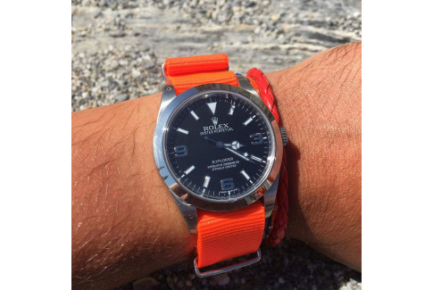 Bracelet nylon NATO Orange Fluo