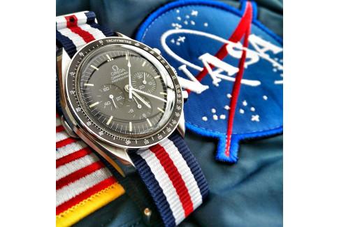 Bracelet nylon NATO Double Bleu Blanc Rouge