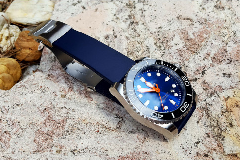 Night Blue natural rubber watch strap, stainless steel safety deployment clasp