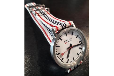 Bracelet montre NATO 2 pièces Blanc Rouge Noir