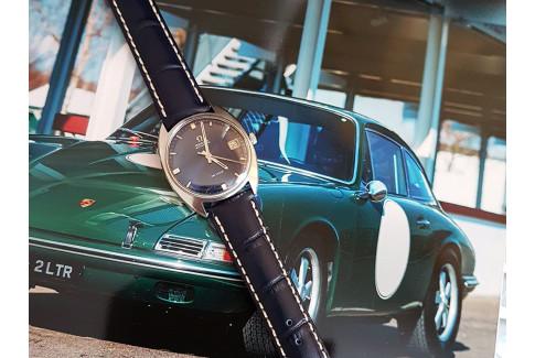 Bracelet montre HIRSCH Modena Bleu, cuir de veau italien