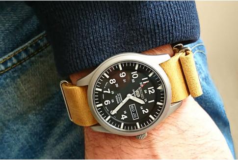 Bracelet montre NATO cuir Select'Heure vintage Miel, boucles acier inox poli