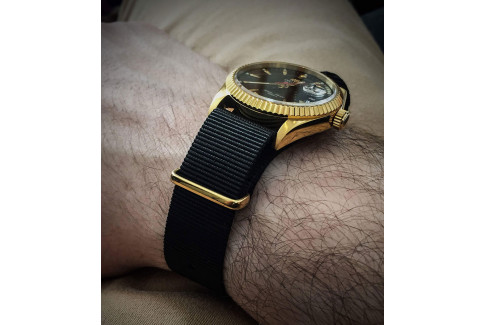 Black G10 NATO strap, gold buckle and loops
