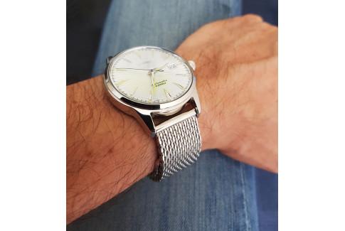 Bracelet MESH ajustable (maille milanaise), largeur 18 ou 22mm, acier inox poli, boucle avec sécurité