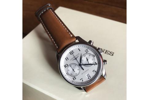 Bracelet montre Select'Heure classique Marron Cognac, surpiqûre blanche