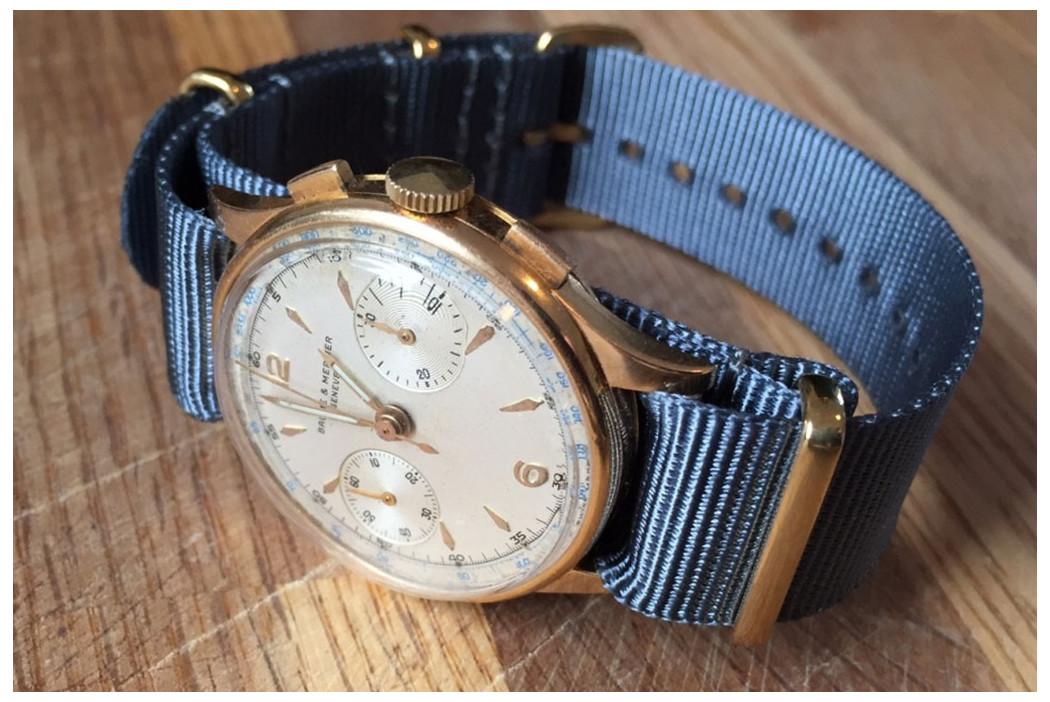 Bracelet nylon NATO Gris Bleu, boucle or (dorée)