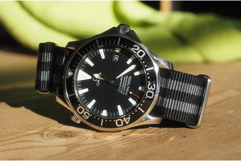 Craig Bond G10 NATO strap (Black Grey), brushed buckle and loops