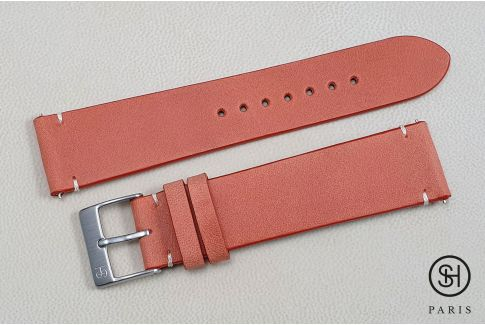 Tangerine Orange Vintage SELECT-HEURE leather watch strap with quick release spring bars (interchangeable)
