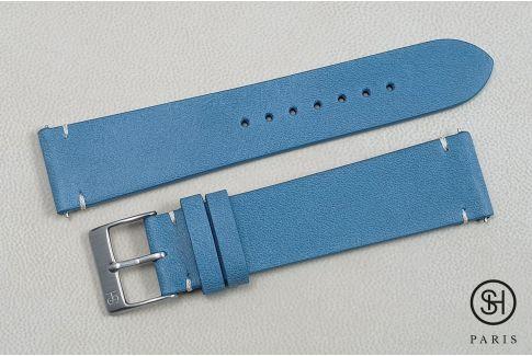 Bracelet montre cuir Vintage SELECT-HEURE Bleu Pastel avec pompes rapides (interchangeable)