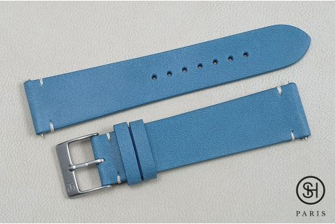 Pastel Blue Vintage SELECT-HEURE leather watch strap with quick release spring bars (interchangeable)