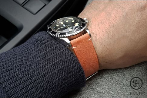 Bracelet montre cuir Vintage SELECT-HEURE Orange Tangerine avec pompes rapides (interchangeable)